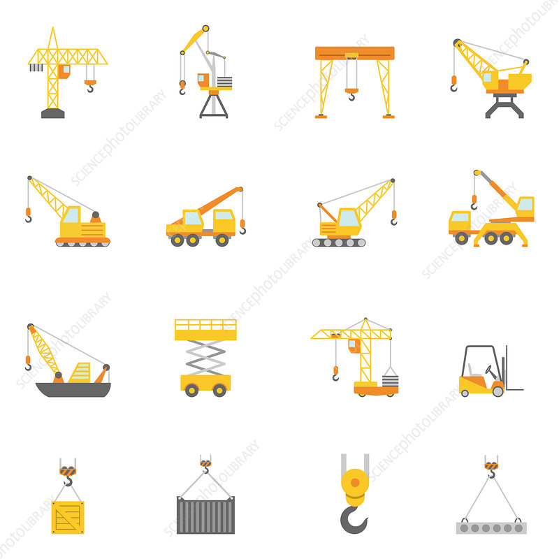 Crane and lift icons, illustration