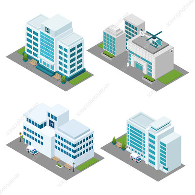 Hospital buildings, illustration