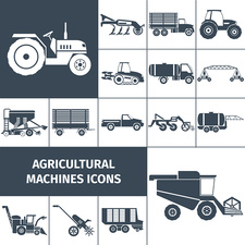 Agricultural machine icons, illustration