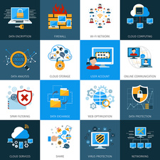 Computer security icons, illustration