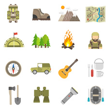 Camping icons, illustration