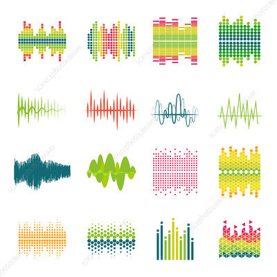 Audio equalizer icons, illustration