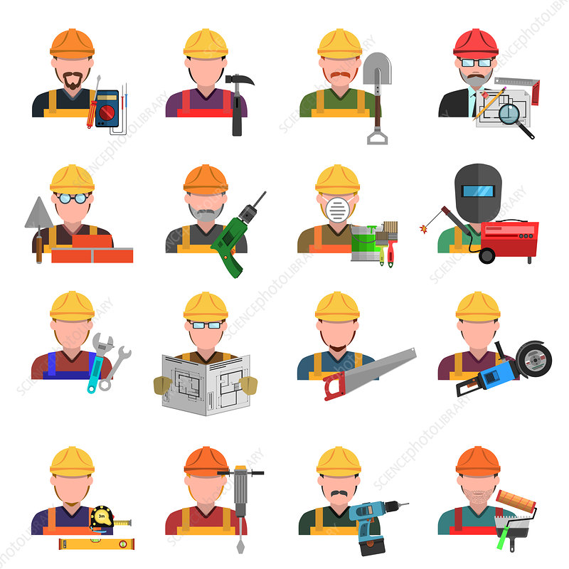 Construction avatars, illustration