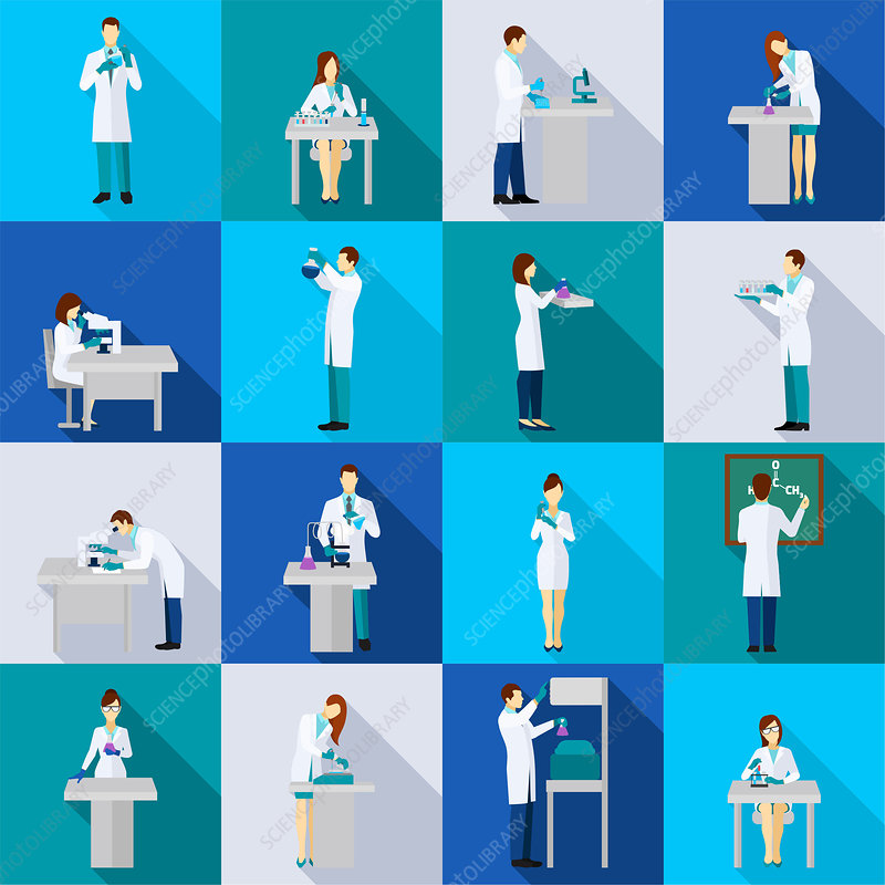 Scientist icons, illustration