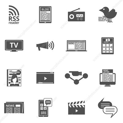 Mass media icons, illustration