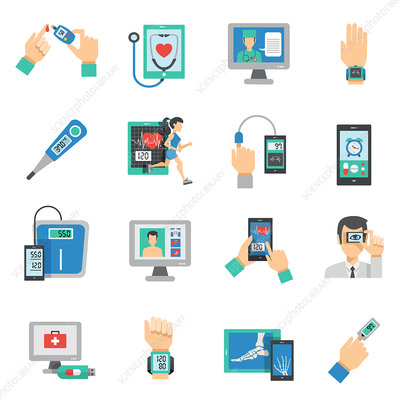 Digital medicine icons, illustration