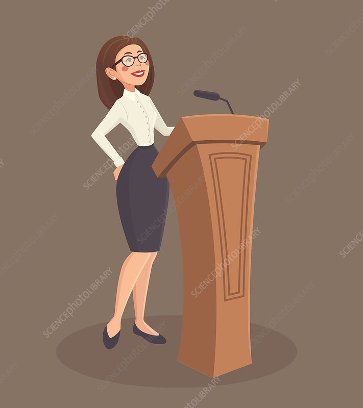 Woman giving lecture, illustration