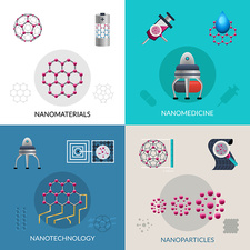 Nanotechnology icons, illustration
