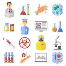 Microbiology icons, illustration