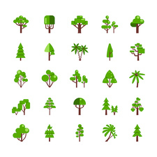 Tree icons, illustration