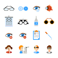 Optometry icons, illustration