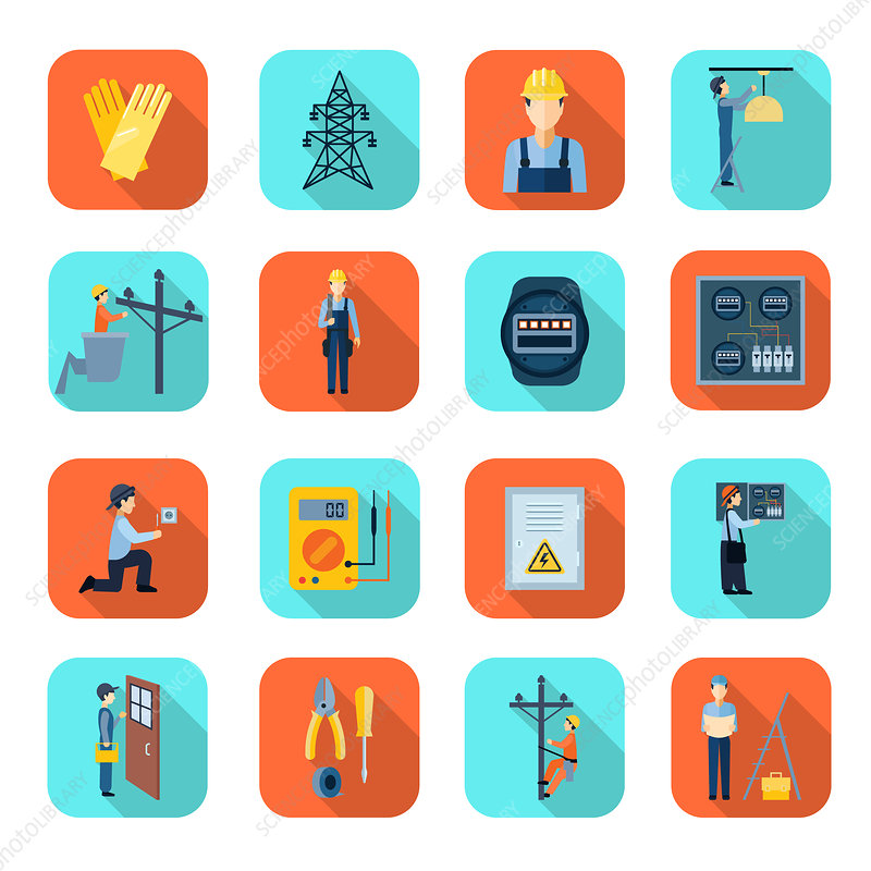Electrician icons, illustration
