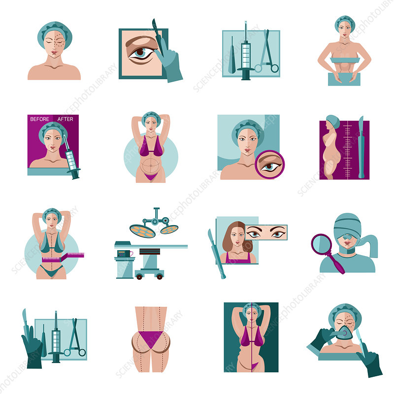 Cosmetic surgery icons, illustration