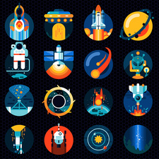 Space icons, illustration
