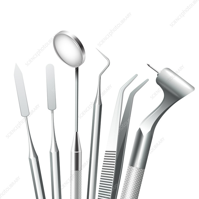 Dental tools, illustration