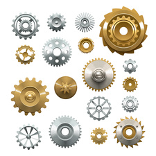 Cog and gear icons, illustration