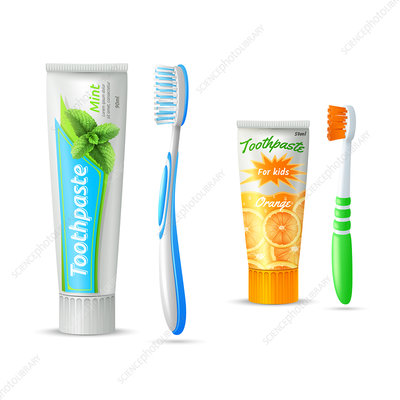 Toothbrush and toothpaste, illustration