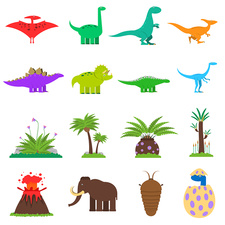 Prehistoric icons, illustration