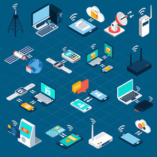 Wireless technology icons, illustration