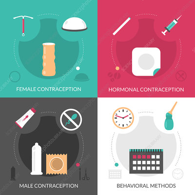 Contraception icons, illustration