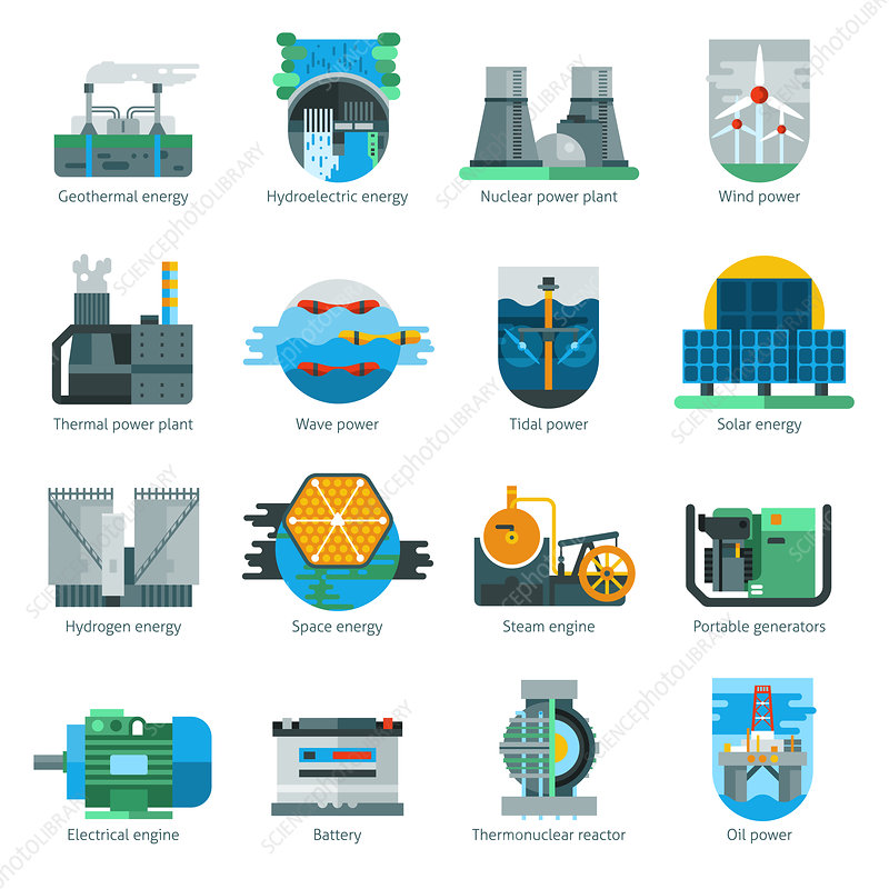 Energy production icons, illustration