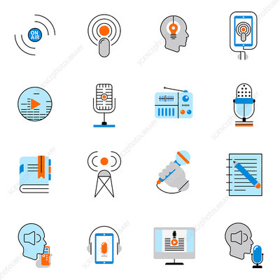 Podcast and online audio icons, illustration