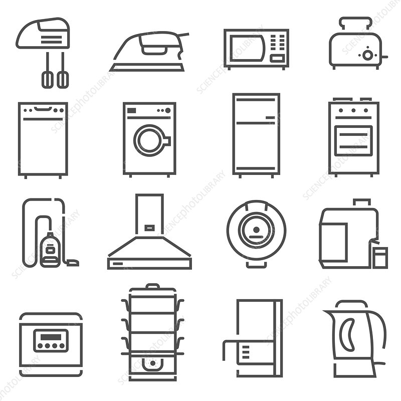 Household appliance icons, illustration