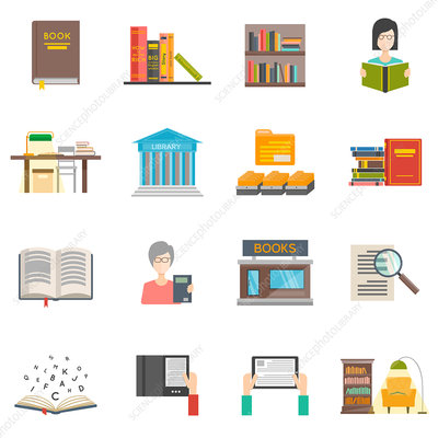 Library icons, illustration