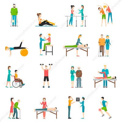 Physiotherapy icons, illustration