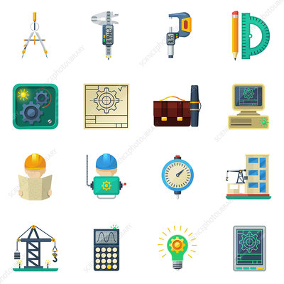 Civil engineering icons, illustration