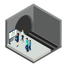 Underground train platform, illustration