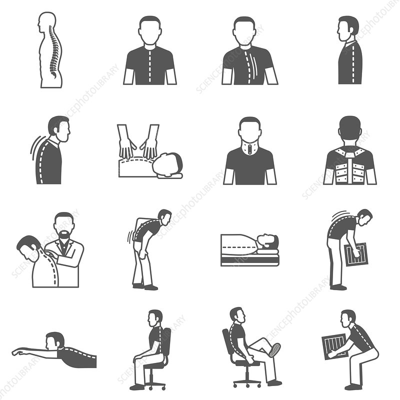 Back pain icons, illustration