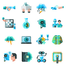 Artificial intelligence icons, illustration