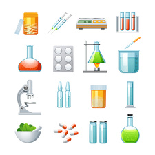 Pharmacology icons, illustration