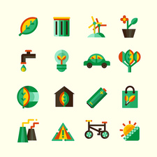Ecology icons, illustration