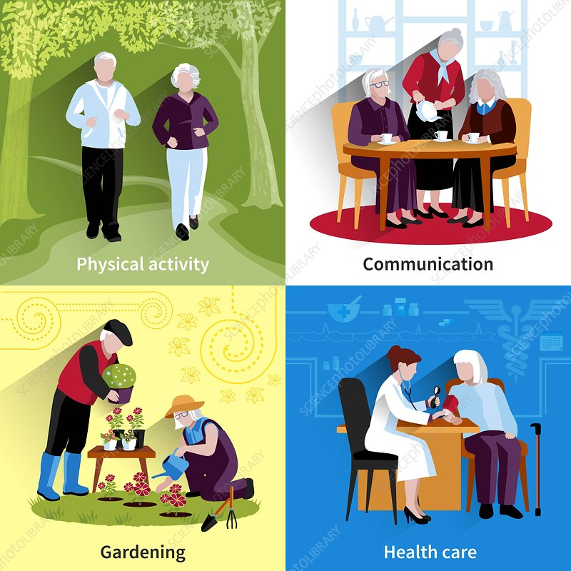 Healthy aging, illustration