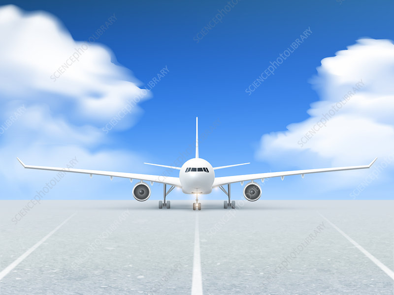 Aeroplane on runway, illustration