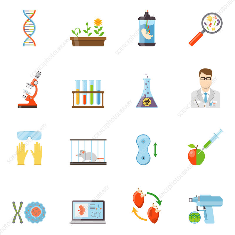 Biotechnology icon, illustration