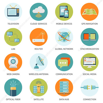 Telecommunication icons, illustration
