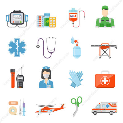 Paramedic icons, illustration