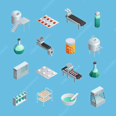 Pharmaceutic icons, illustration