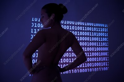 Woman with binary code