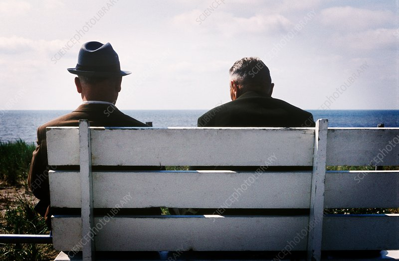 Two men sitting on bench by sea
