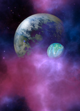 Two planets in purple clouds