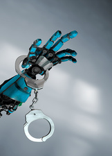 Robotic hand with handcuffs