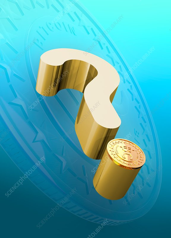 Question mark with bitcoin