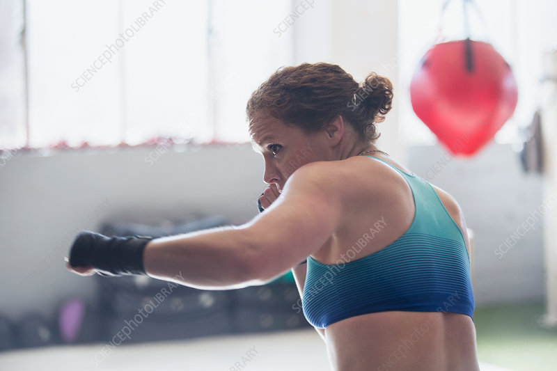 Determined female boxer shadowboxing in gym
