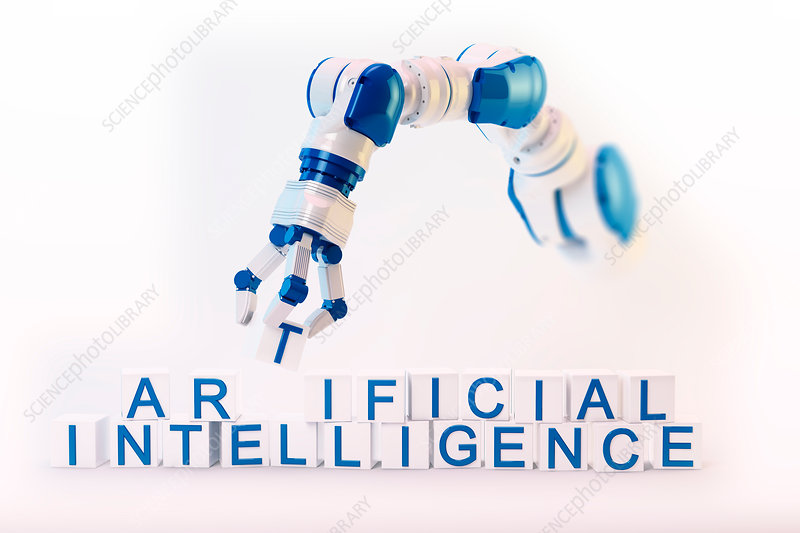 Robotic hand and artificial intelligence, illustration