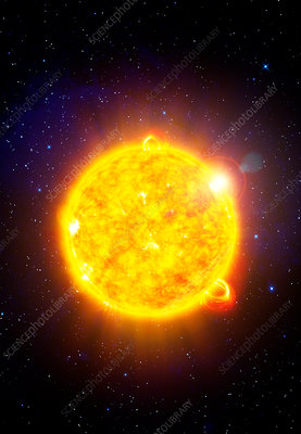 Sun with solar flares, illustration