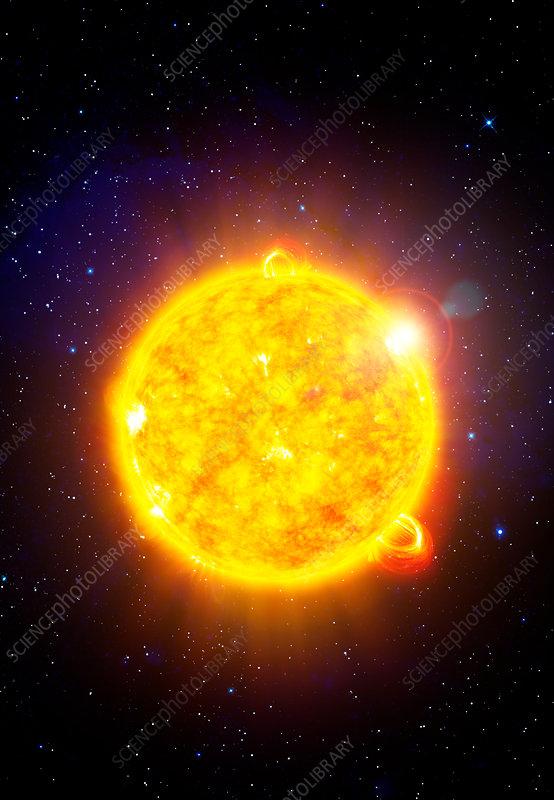 Sun with solar flares, illustration